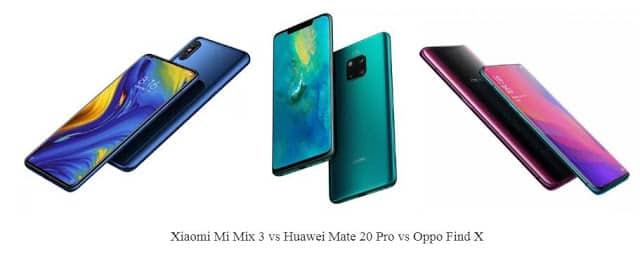 Xiaomi Mi Mix 3 vs Huawei Mate 20 Pro vs Oppo Find X: Spesifikasi, Harga dan Perbandingan