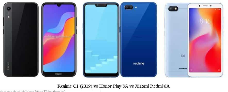 Perbandingan Spesifikasi Realme C1 (2019) VS Honor Play 8A VS Redmi 6A