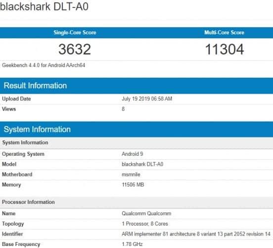 Black Shark 2 Pro Hadir di Geekbench dengan Snapdragon 855 Plus dan RAM 12GB