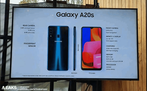 Samsung Galaxy A20s Berbekal Snapdragon 450, Tiga Kemera Utama dan IPS LCD