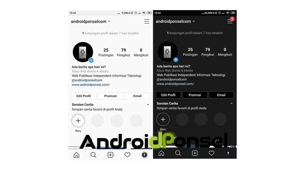 Aktifkan darkmode dengan aplikasi
