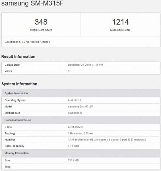 Samsung Galaxy M31 Geekbench
