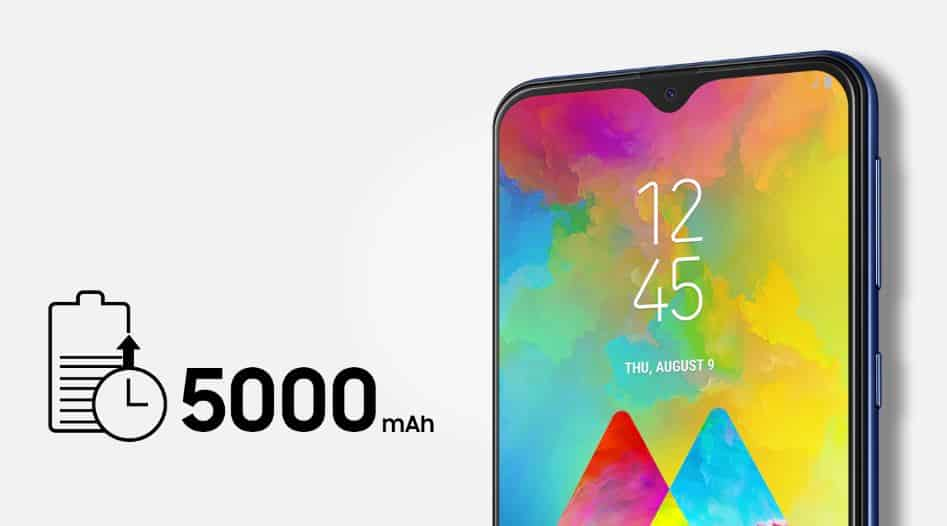 Galaxy M20 dengan kapasitas baterai sebesar 5000 mAh