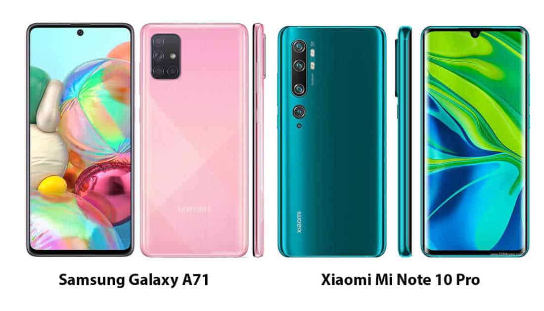 Samsung Galaxy A71 vs Xiaomi Mi Note 10 Pro