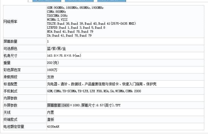 Tangkap layar Realme X50 5G di TENAA