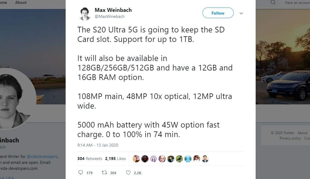 Tangkap layar bocoran Samsung Galaxy S20 Ultra 5G