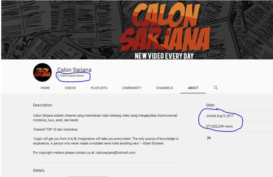 Tangkap layar channel Calon Sarjana