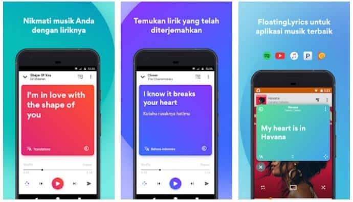Aplikasi musik yang menampilkan lirik