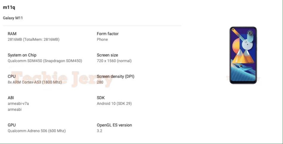 Spesifikasi Samsung galaxy M11 dalam Daftar Play Console