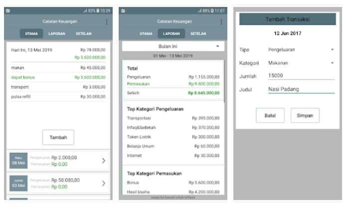Aplikasi Catatan keuangan harian