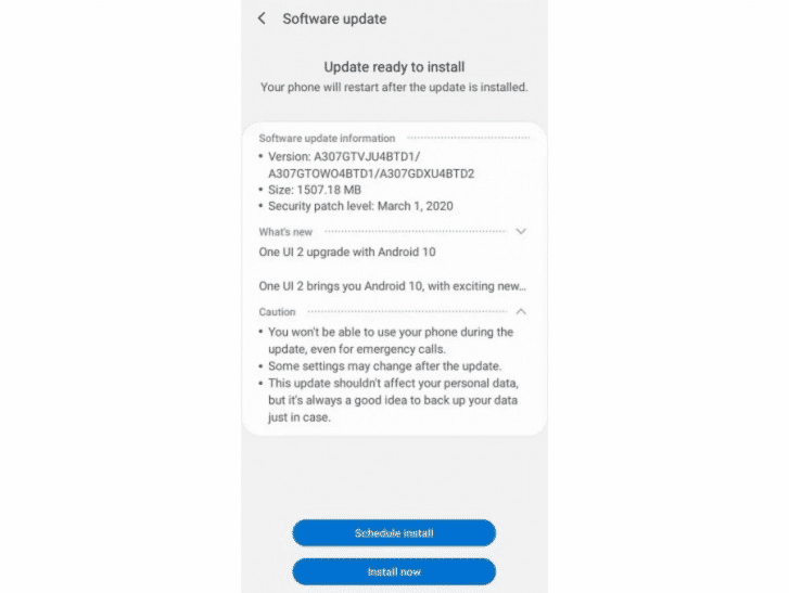 Update OS Android 10 Samsung Galaxy A30s (1)