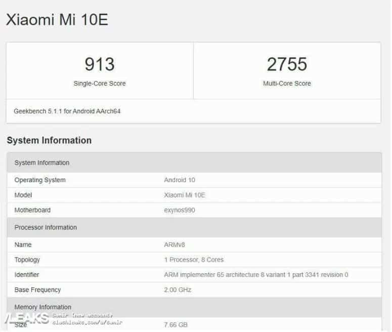 Geekbench Xiaomi MI 10E
