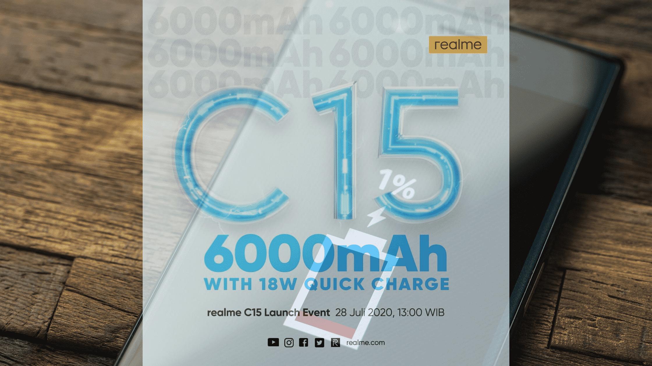 Realme C15 dengan baterai 6000 mAh