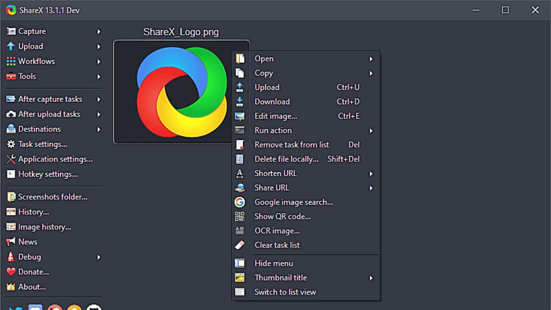 ShareX Perekam layar PC