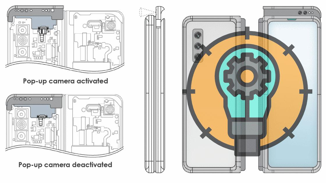 Konsep Layar Lipat Samsung dengan kamera Pop-up
