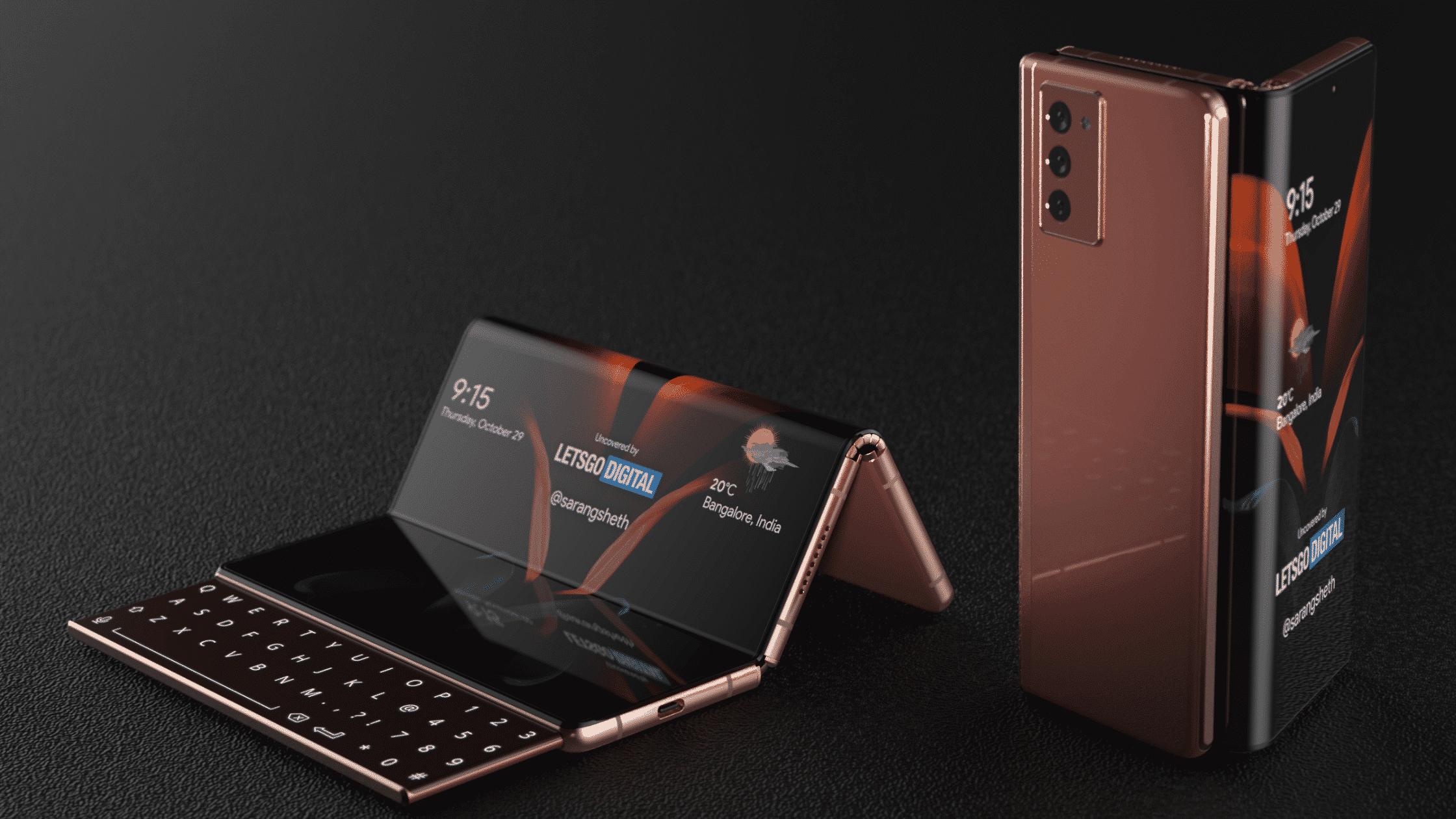 Konsep Ponsel Samsung layar Lipat dengan Keyboard Geser