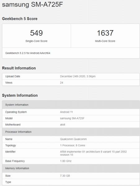 Geekbench Menampilkan Samsung Galaxy A72 4G