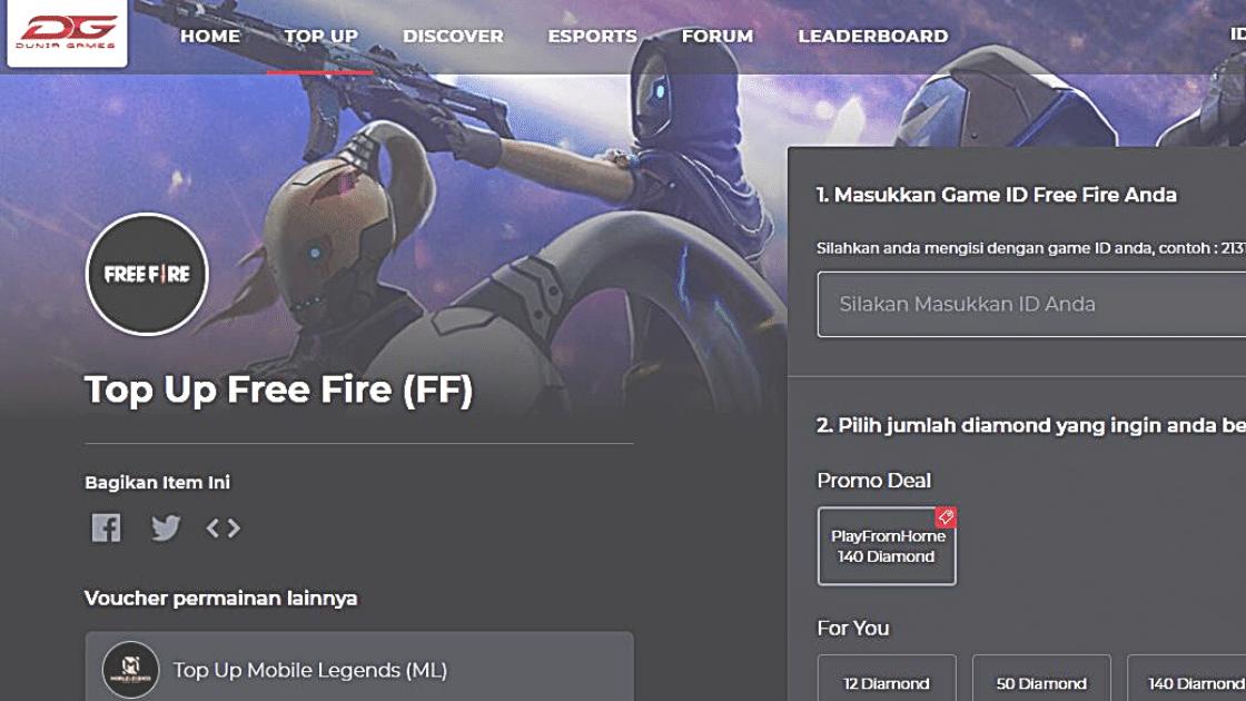 Dunia Games Free Fire 70 diamond diskon