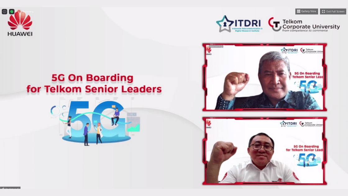 Chief of Technology Officer TelkomGroup Herlan Wijanarko (atas) bersama SGM Telkom CorpU sekaligus Chairman of ITDRI Jemy V. Confido saat membuka secara langsung program 5G On Boarding for Telkom Senior Leaders sebagai bentuk implementasi dari nota kesepahaman (MoU) dengan Huawei ASEAN (Indonesia) dalam komitmen pemberdayaan talenta digital, Kamis (3/6).